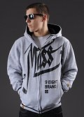 Mass DNM Hate Zip Hoody šedá