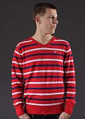 Ecko Stripes Core V-neck červený / bílý / navy