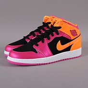 Jordan Air Jordan 1 Mid (GS) black / fusion pink - brght citrus
