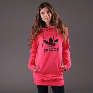 0a681fc334c Dámská mikina adidas Long Logo Hoodie tmavě růžová – Queens 💚