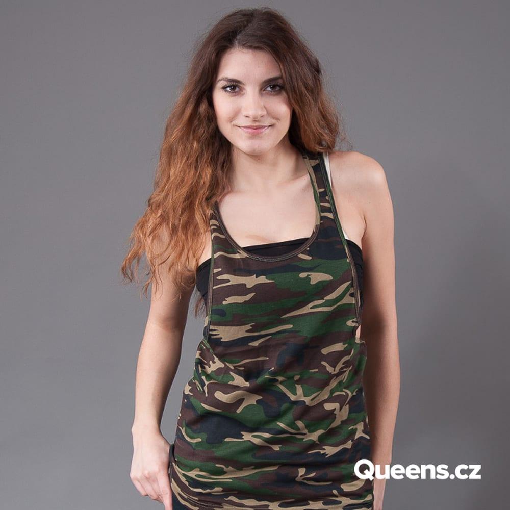 Urban Classics Ladies Camo Loose Tank camo green