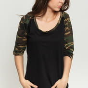 Urban Classics Ladies 3/4 Contrast Raglan black / camo green