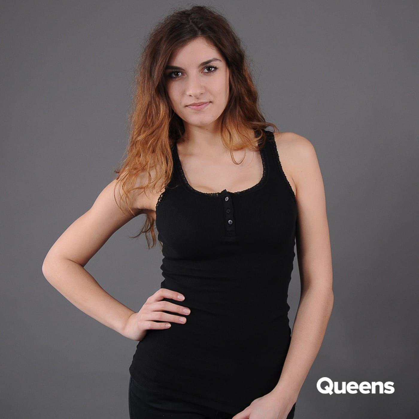 Urban Classics Ladies Button Laces Tanktop black