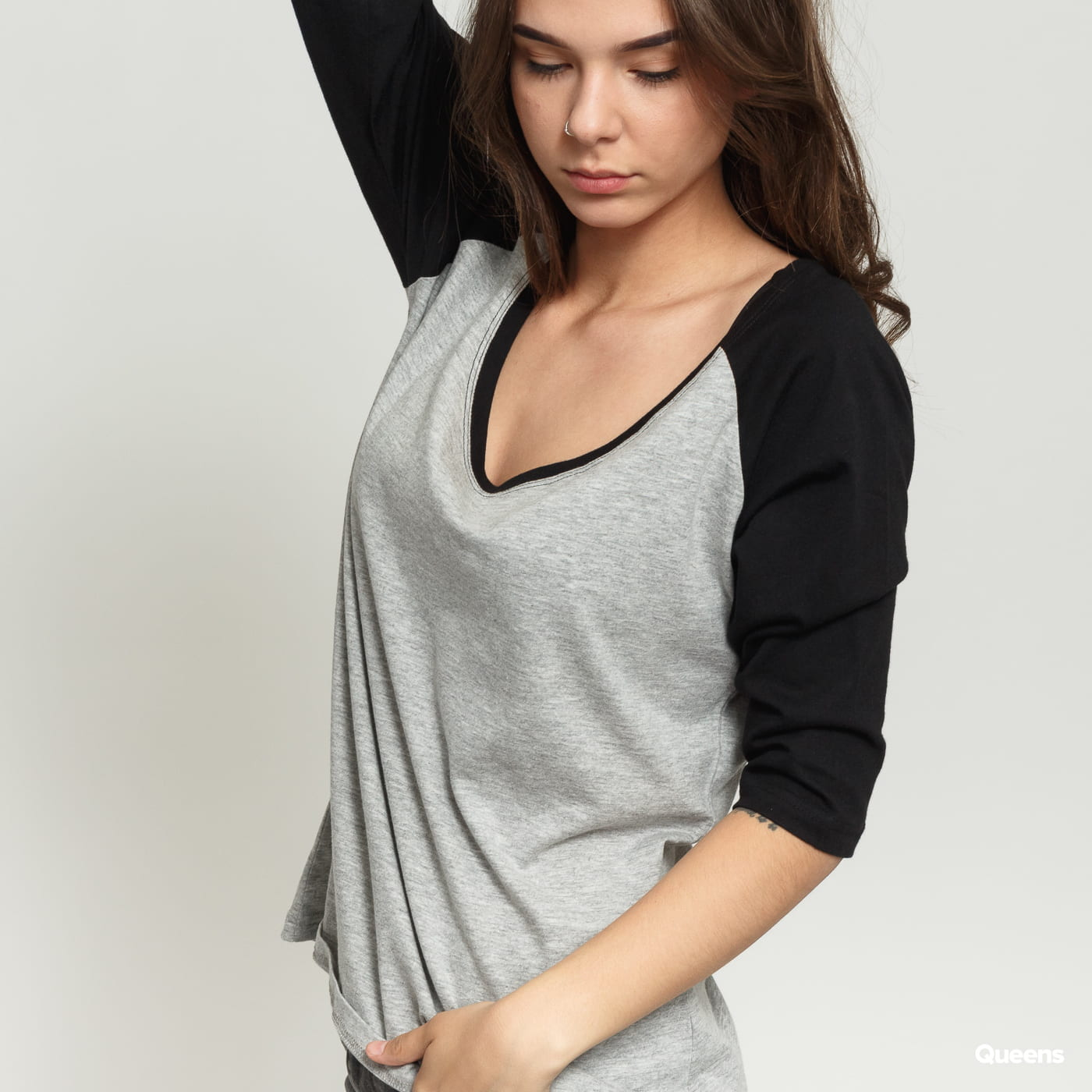 Urban Classics Ladies 3/4 Contrast Raglan melange gray / black