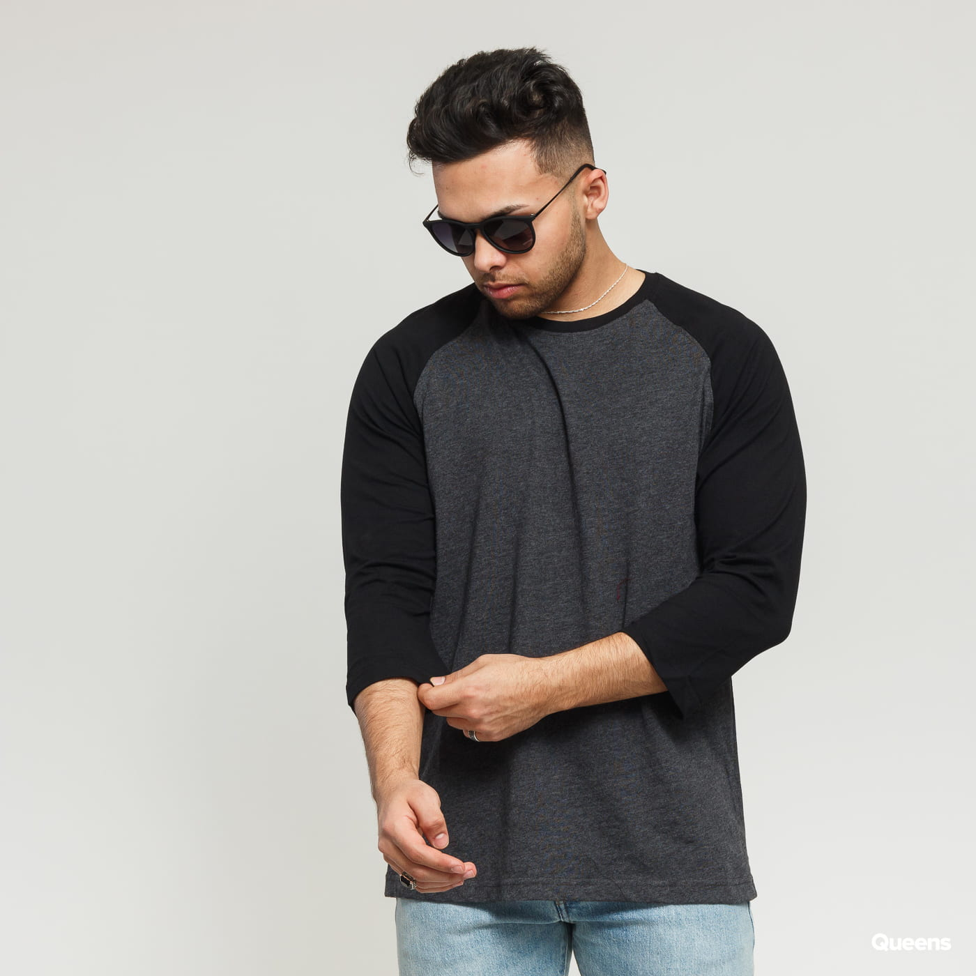 Urban Classics Contrast 3/4 Sleeve Raglan dark gray / black