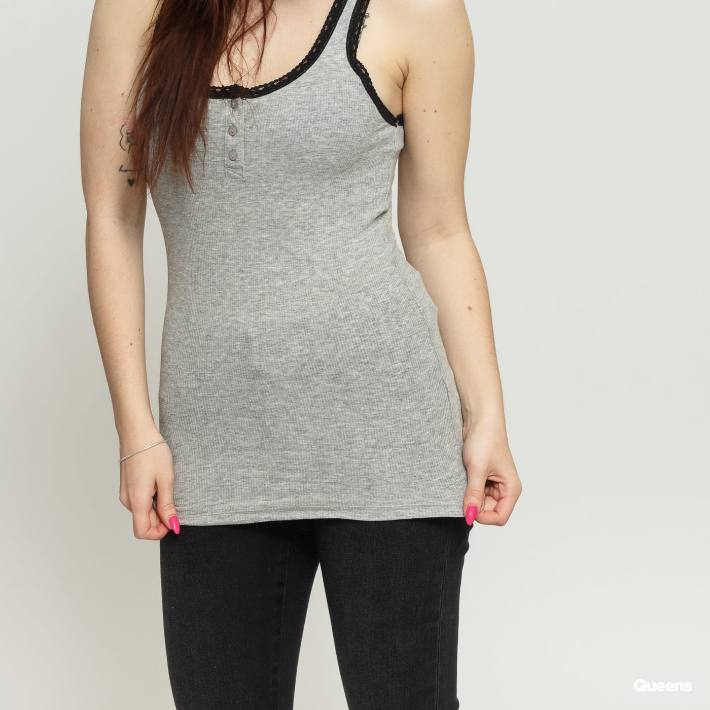 Urban Classics Ladies Button Laces Tanktop melange gray