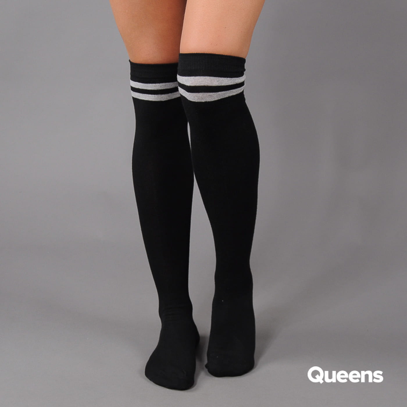 Urban Classics Ladies Overknee Socks 2-Pack čierne / šedé