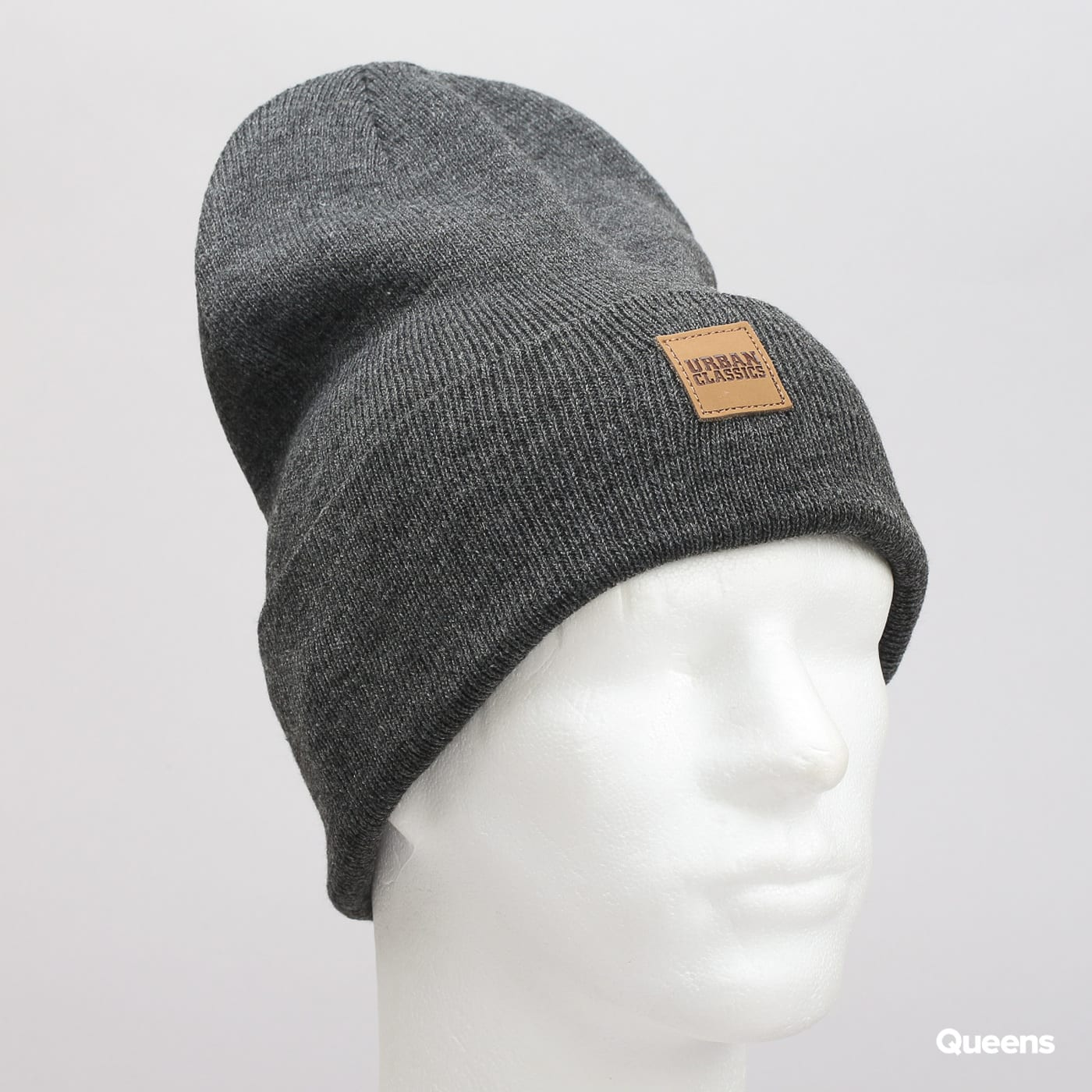 Urban Classics Leatherpatch Long Beanie dark gray
