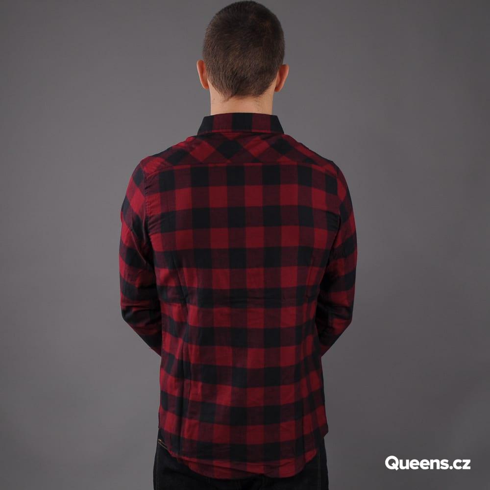 Urban Classics Checked Flanell Shirt black / dark bordeaux