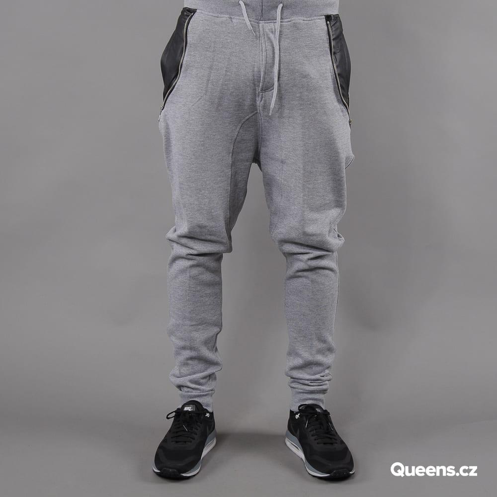 Urban Classics Side Zip Leather Pocket Sweatpant melange gray
