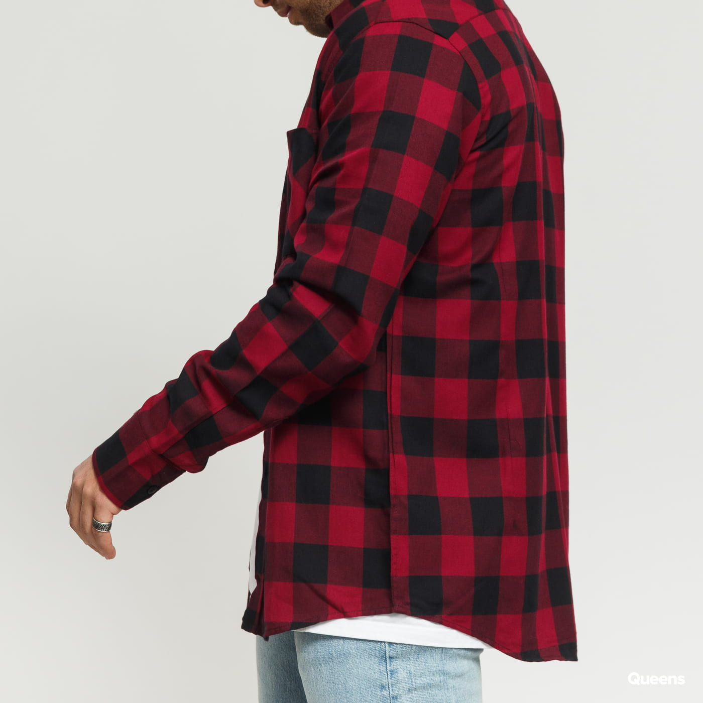 Urban Classics Checked Flanell Shirt black / dark bordeaux