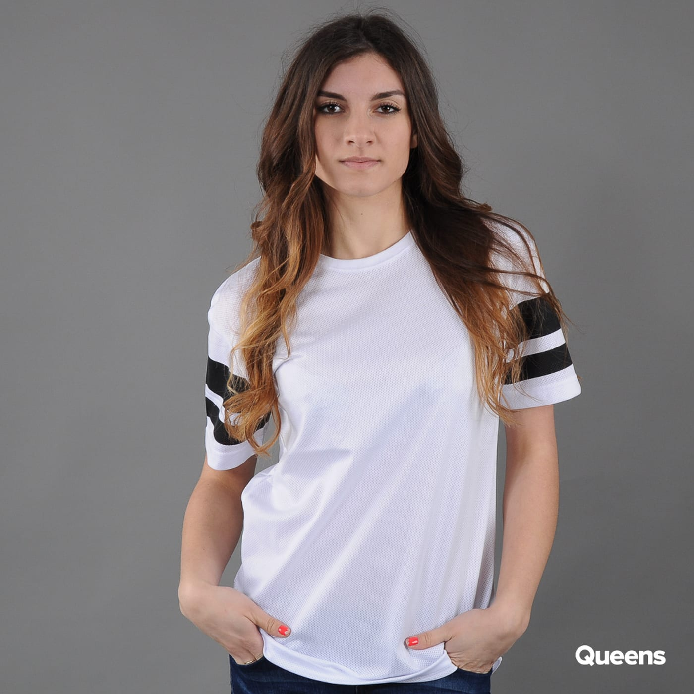 Urban Classics Ladies Stripe Mesh Tee white