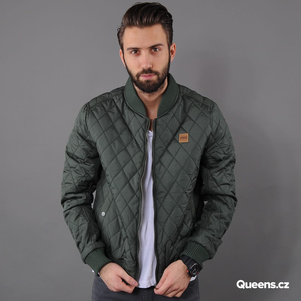 Urban Classics Diamond Quilt Nylon Jacket olivová