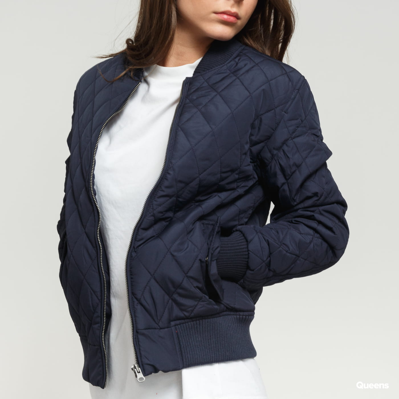 Urban Classics Ladies Diamond Quilt Nylon Jacket Marine