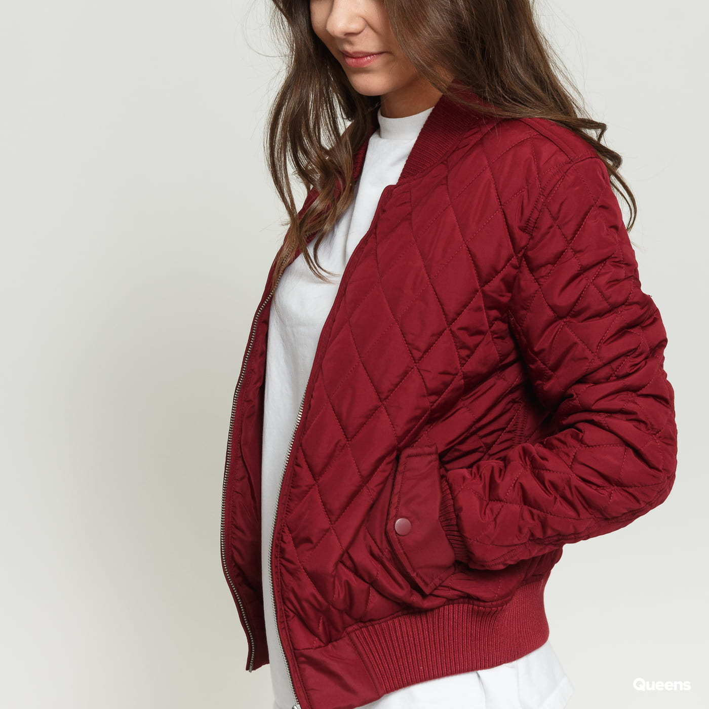 Urban Classics Ladies Diamond Quilt Nylon Jacket vínová