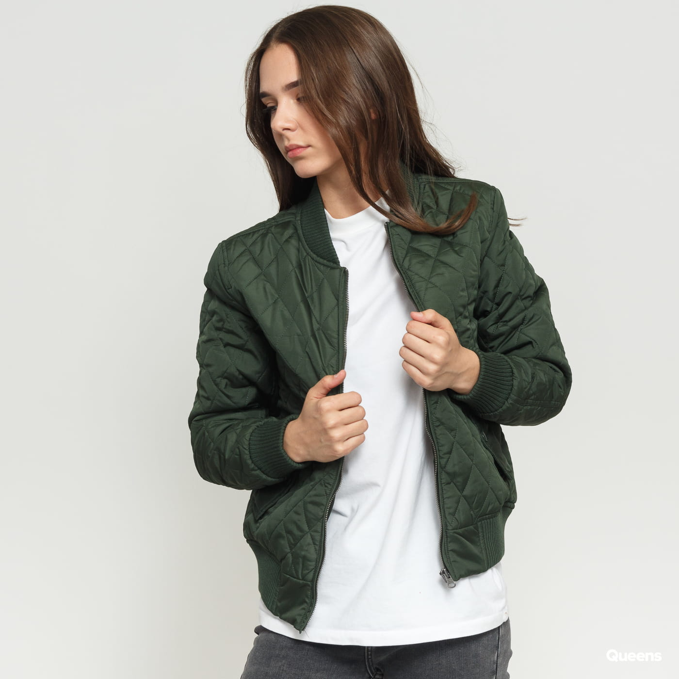 a1cf10d7 Women Bomber Jacket Urban Classics Ladies Diamond Quilt Nylon Jacket olive  (TB806) – Queens 💚