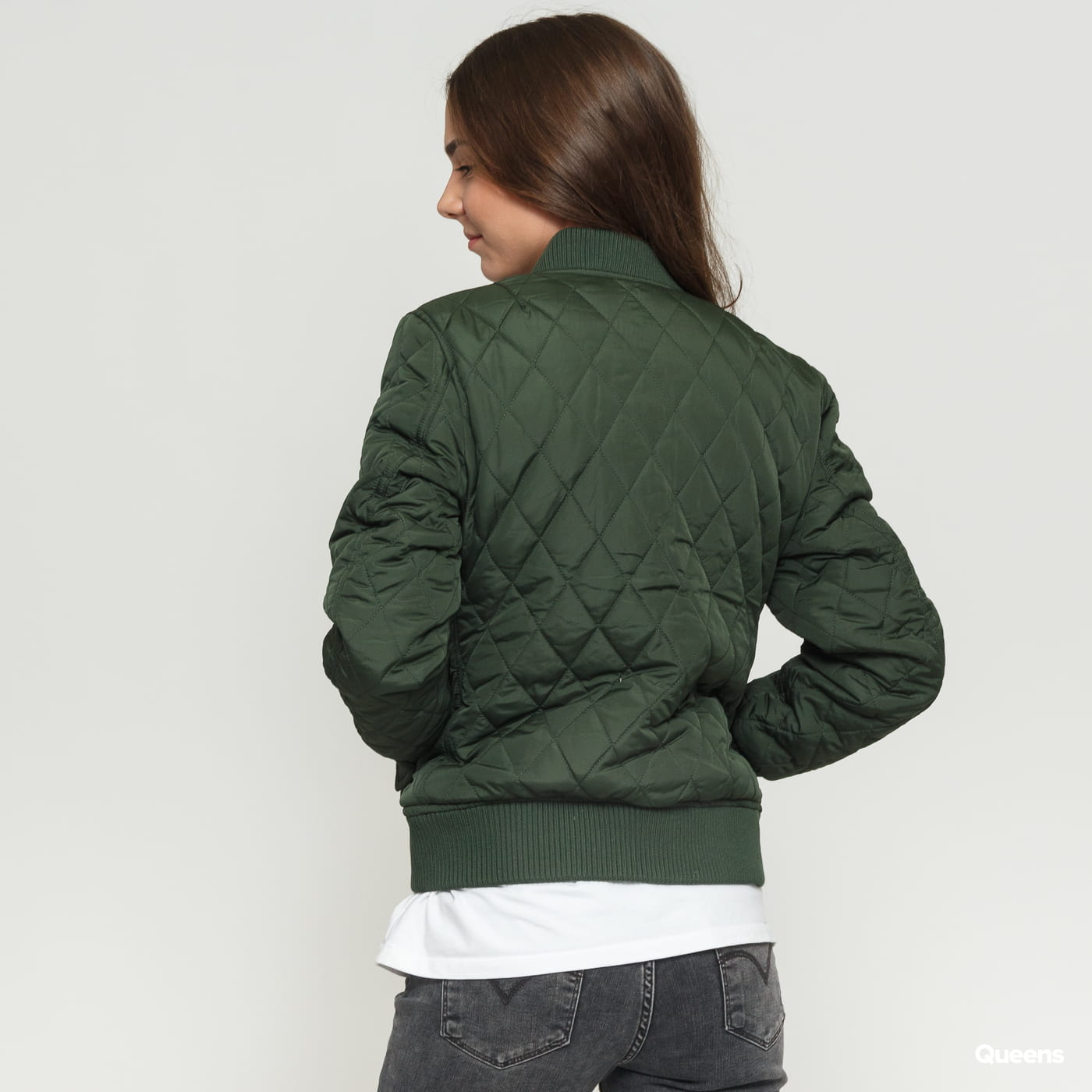 Urban Classics Ladies Diamond Quilt Nylon Jacket olive