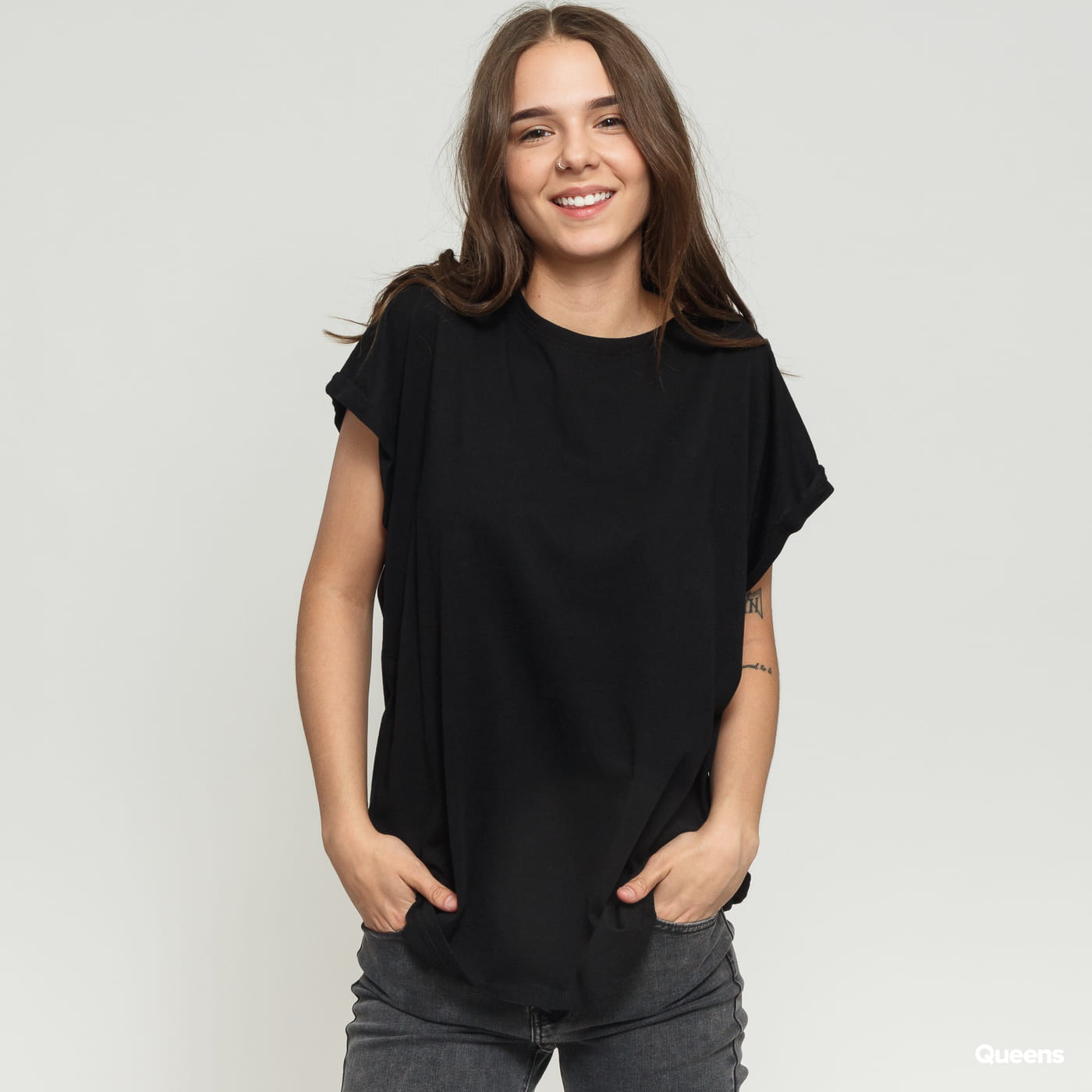 Urban Classics Ladies Extended Shoulder Tee schwarz
