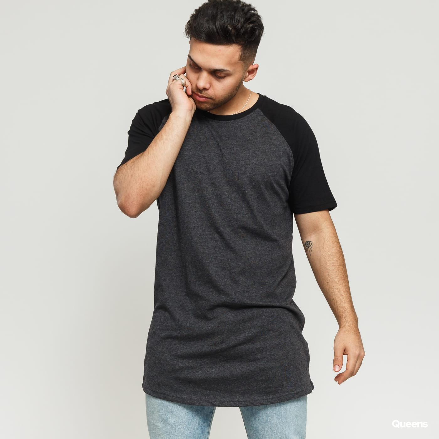 Urban Classics Shaped Raglan Long Tee dunkelgrau / schwarz