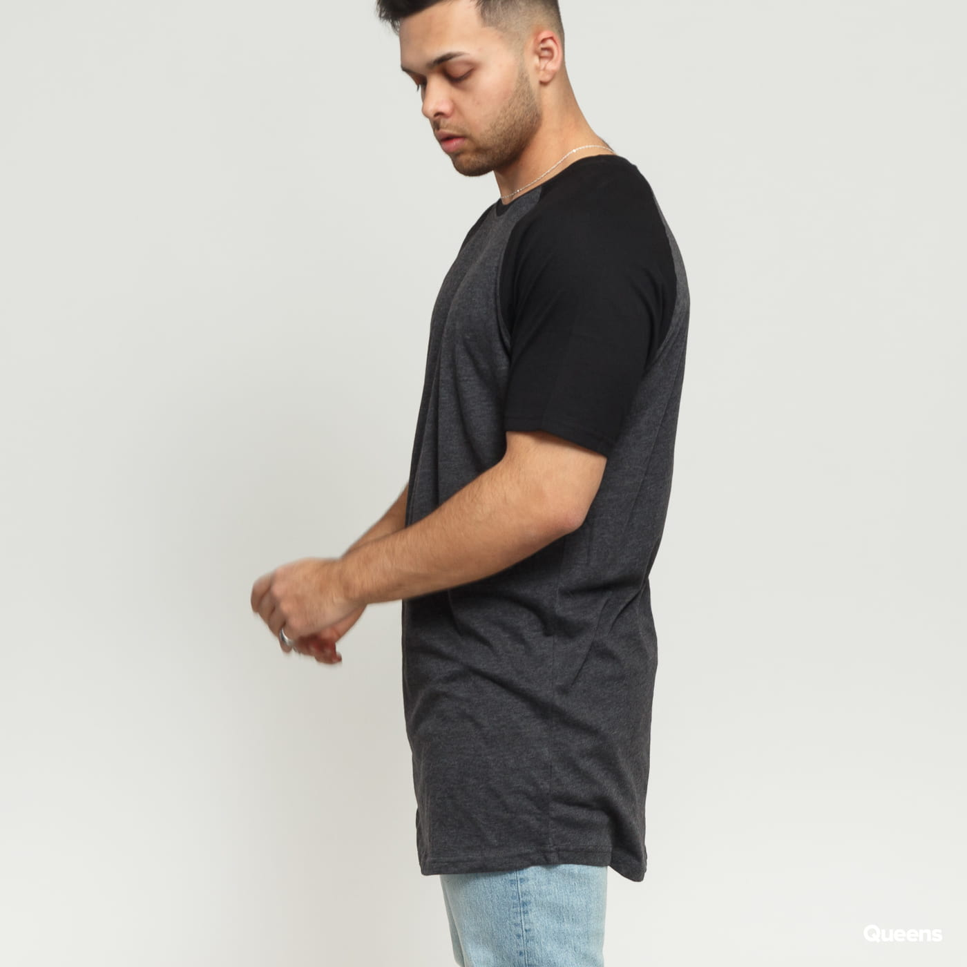 Urban Classics Shaped Raglan Long Tee dark gray / black