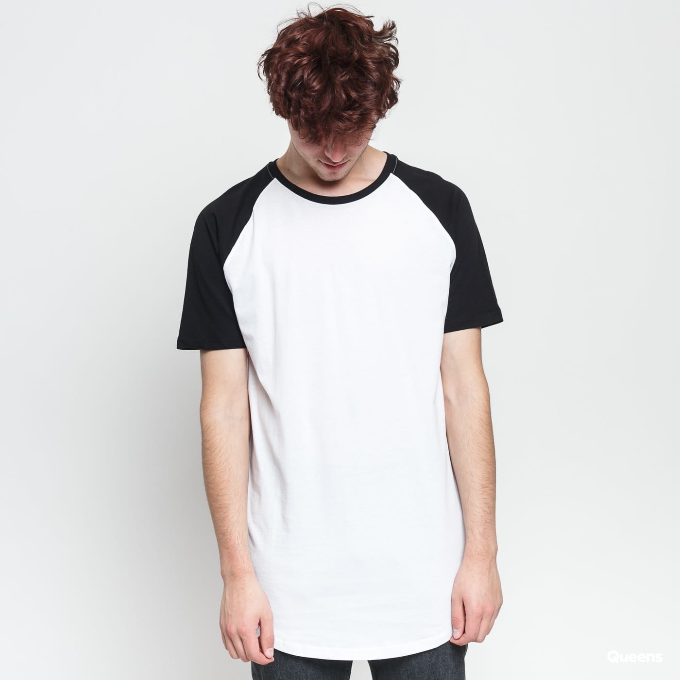 Urban Classics Shaped Raglan Long Tee schwarz / weiß