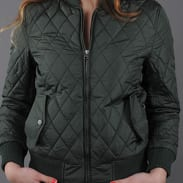 Urban Classics Ladies Diamond Quilt Nylon Jacket olivová