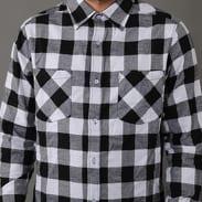 Urban Classics Side-Zip Long Checked Flanell Shirt černá / bílá