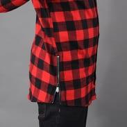 Urban Classics Side-Zip Long Checked Flanell Shirt černá / červená