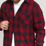 Urban Classics Long Checked Flanell Shirt schwarz / weinrot