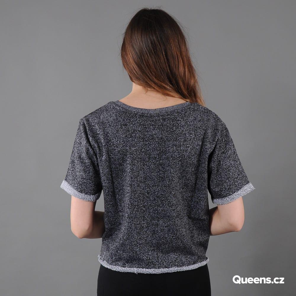 Urban Classics Ladies Melange Cropped Short Sleeve Crew melange čierne