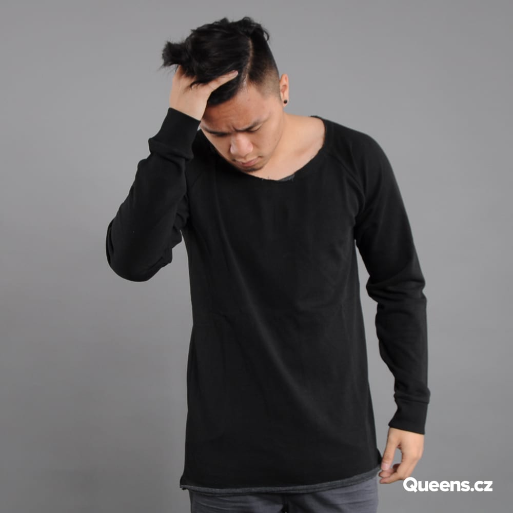 Urban Classics Long Open Edge Terry Crewneck čierna