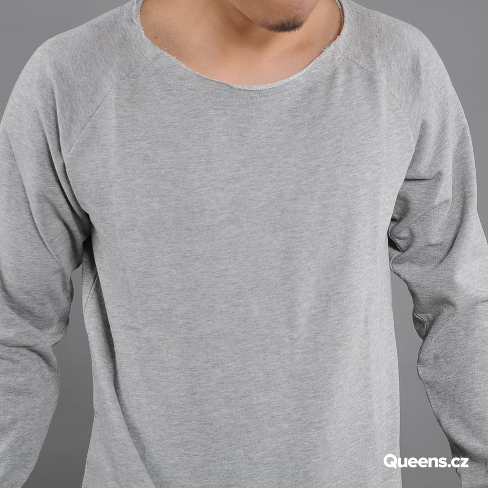 Urban Classics Long Open Edge Terry Crewneck melange šedá