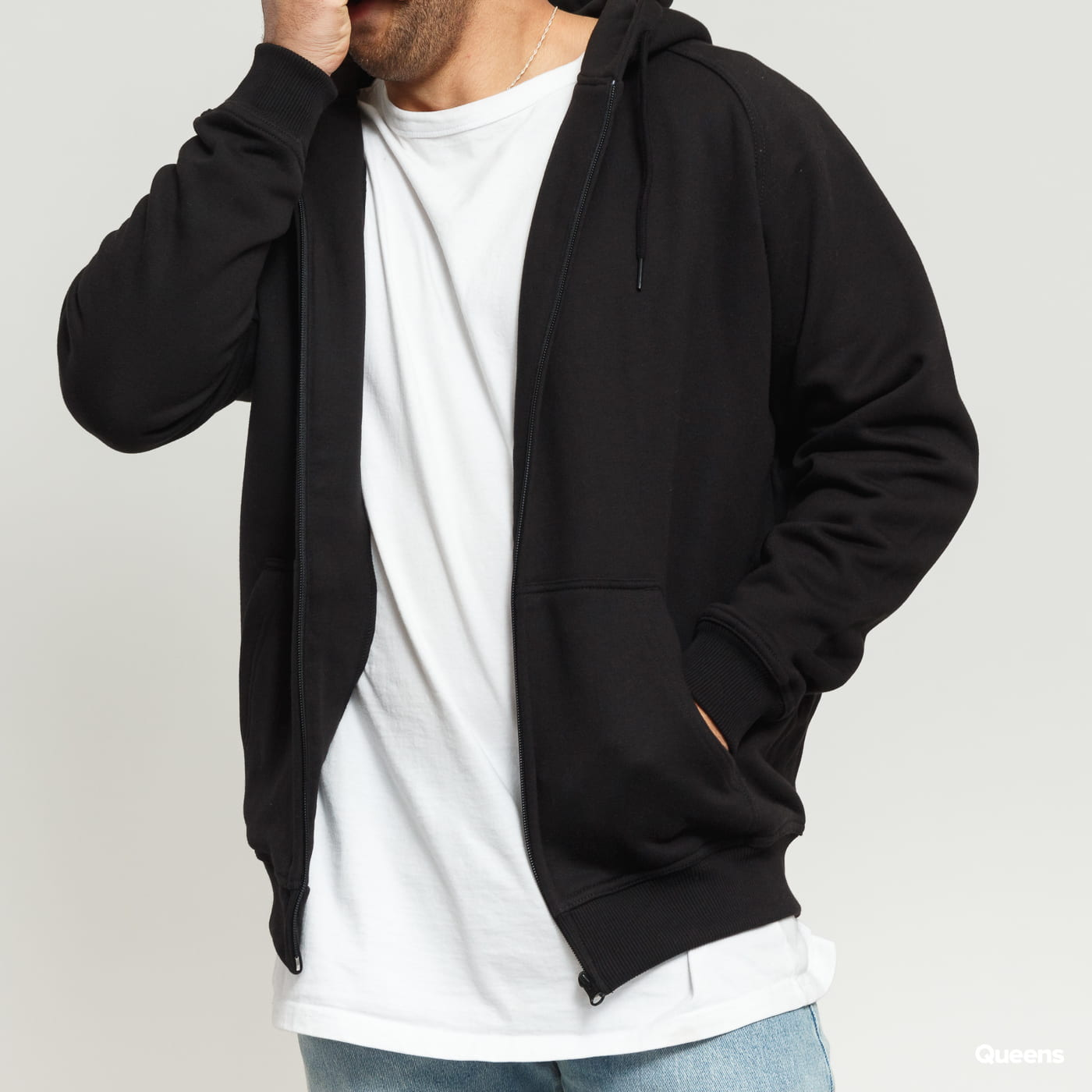 Urban Classics Zip Hoody čierna