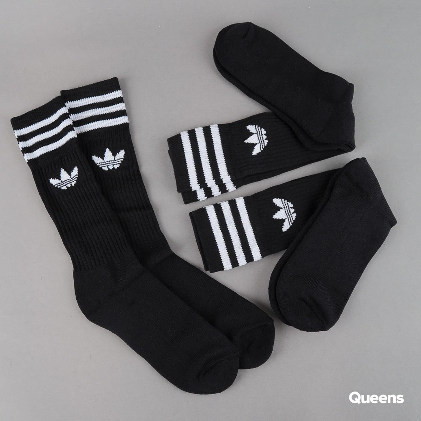 adidas 3Pack Solid Crew Sock čierne / biele