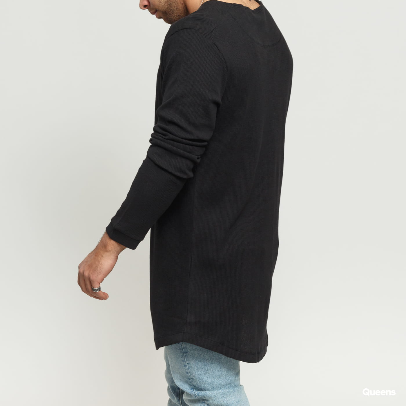Urban Classics Long Shaped Waffle L/S Tee black