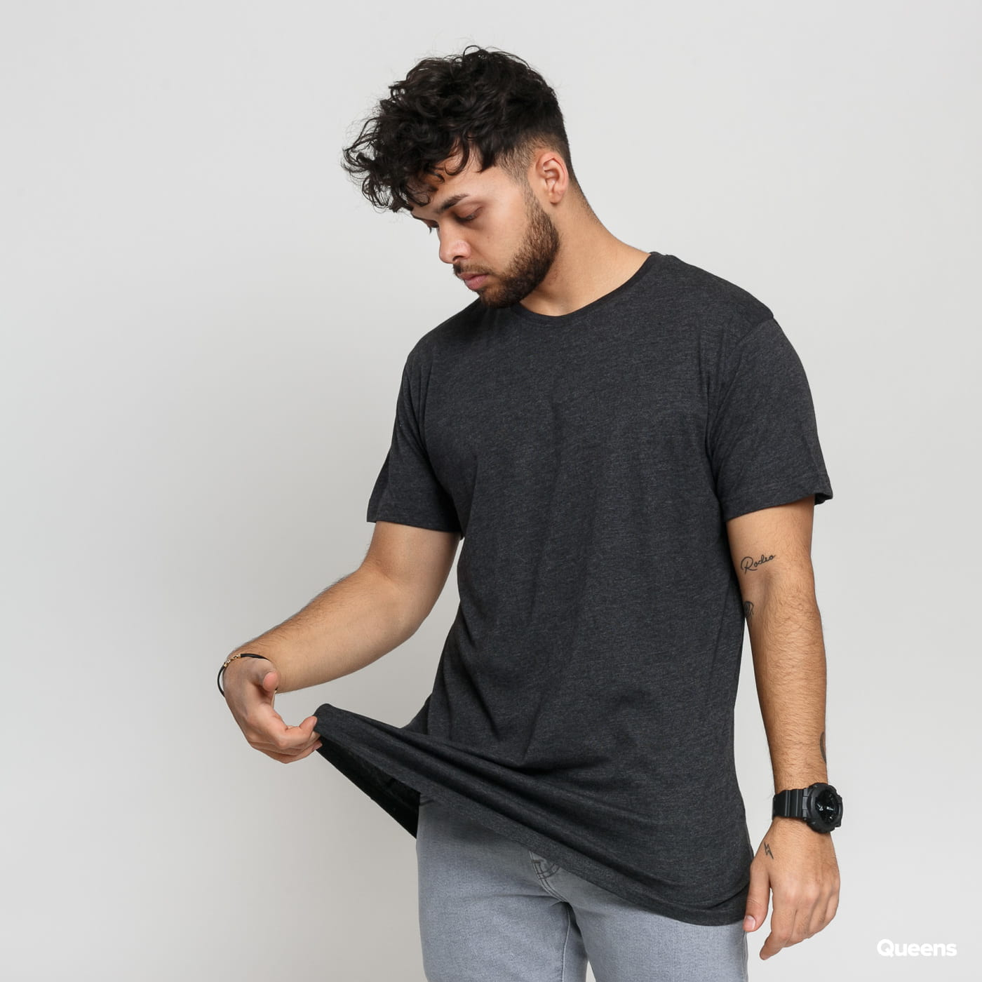 Urban Classics Shaped Long Tee melange tmavošedé