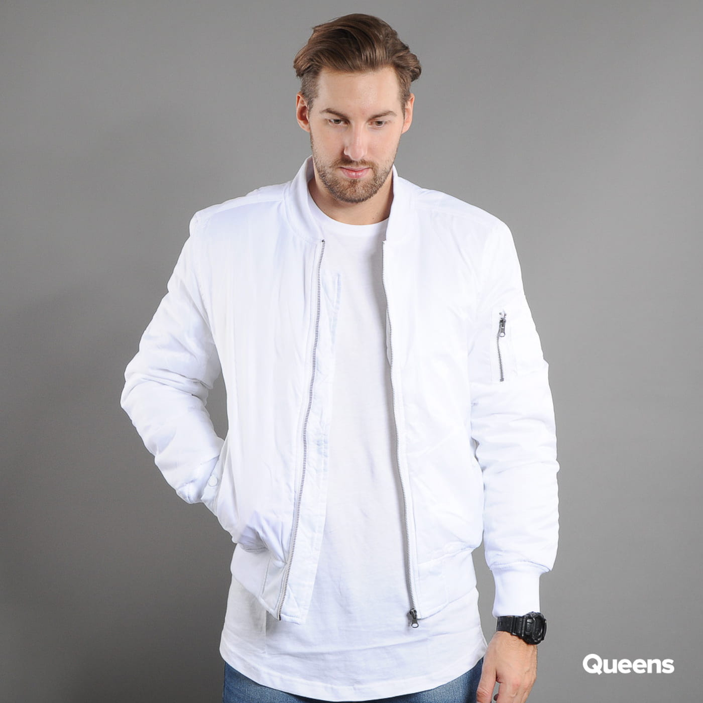 Urban Classics Basic Bomber Jacket biela