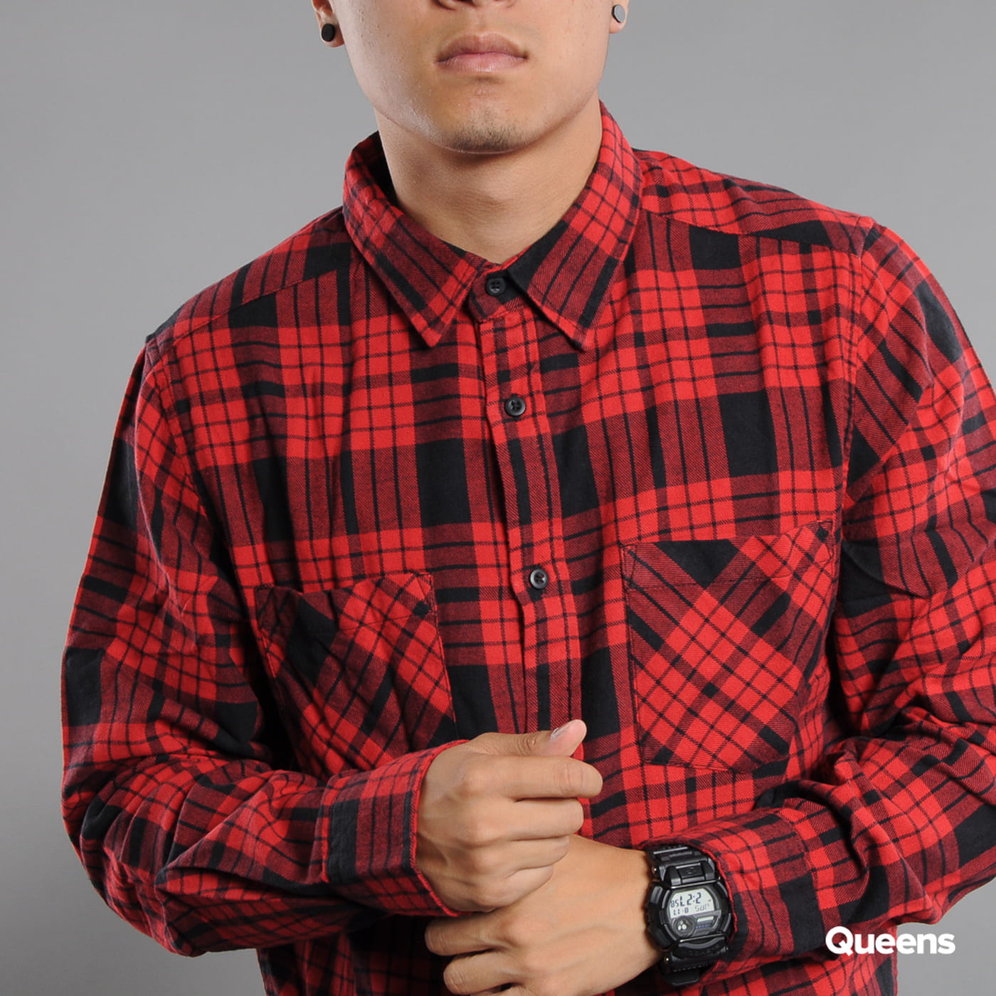 Urban Classics Checked Flanell Shirt 2 rot / schwarz