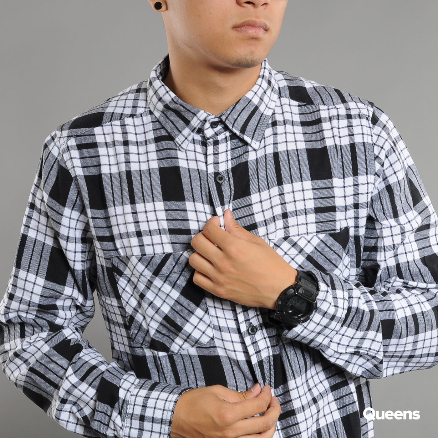 Urban Classics Checked Flanell Shirt 2 weiß / schwarz