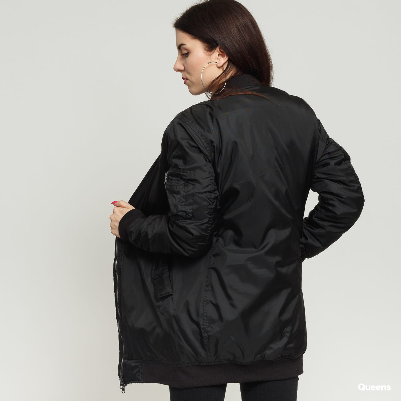 Urban Classics Ladies Long Bomber Jacket black