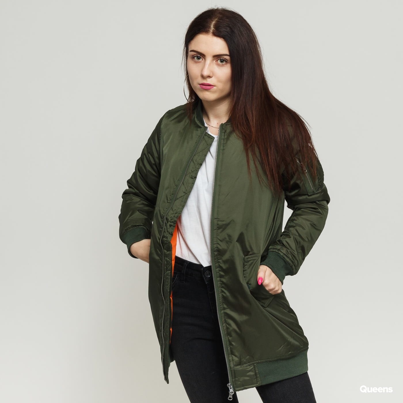 846da651 Women Bomber Jacket Urban Classics Ladies Long Bomber Jacket olive (tb1092)  – Queens 💚