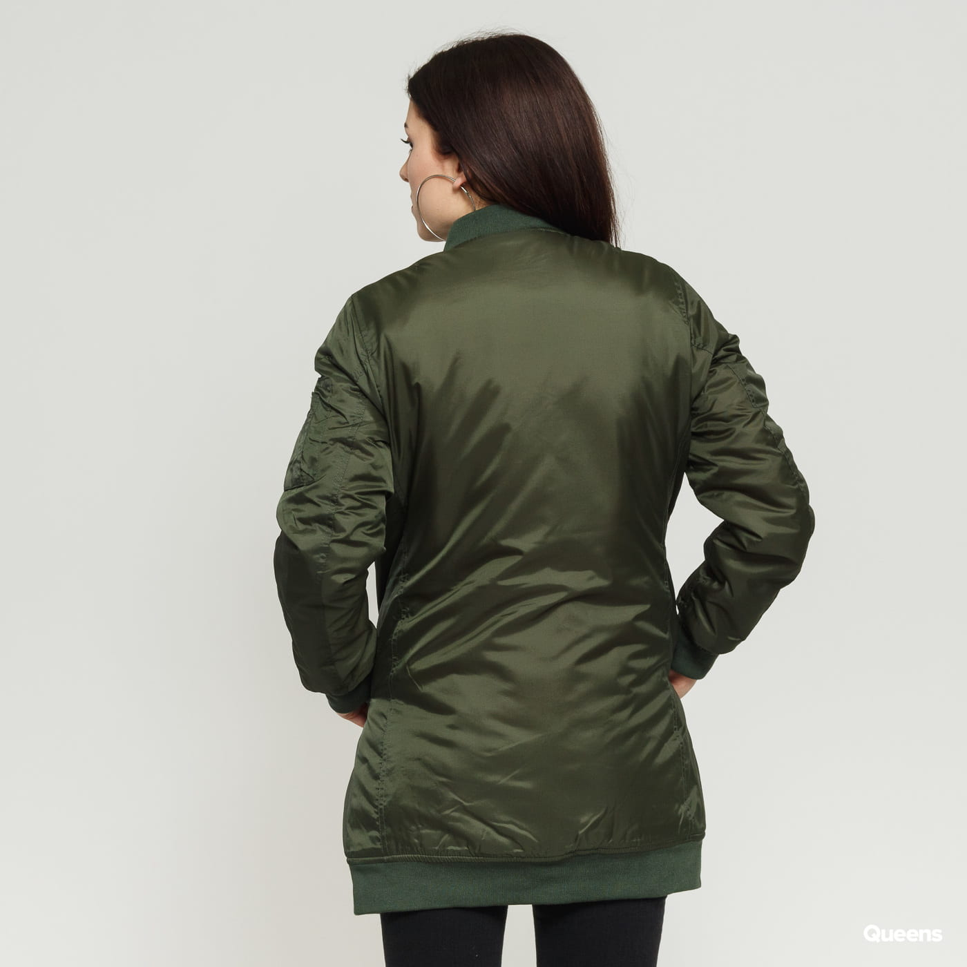 Urban Classics Ladies Long Bomber Jacket olive