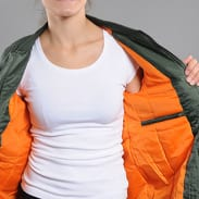 Urban Classics Ladies Long Bomber Jacket olivová