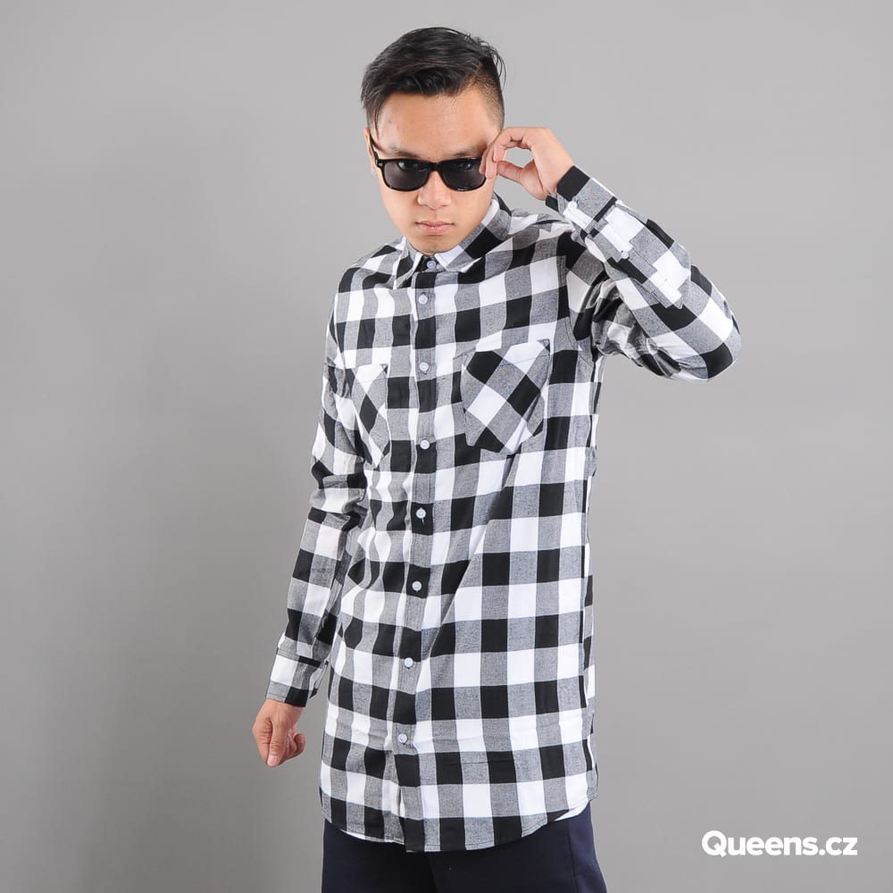 Urban Classics Long Checked Flanell Shirt schwarz / weiß