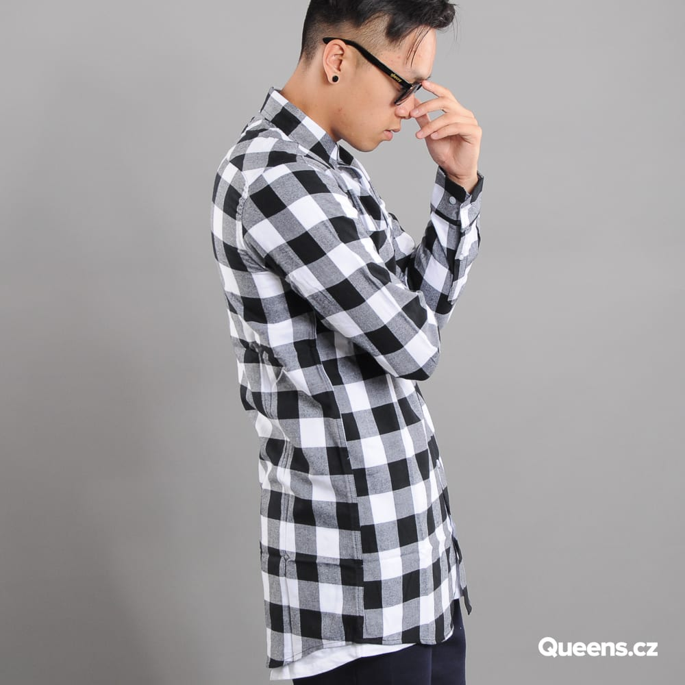 Urban Classics Long Checked Flanell Shirt black / white