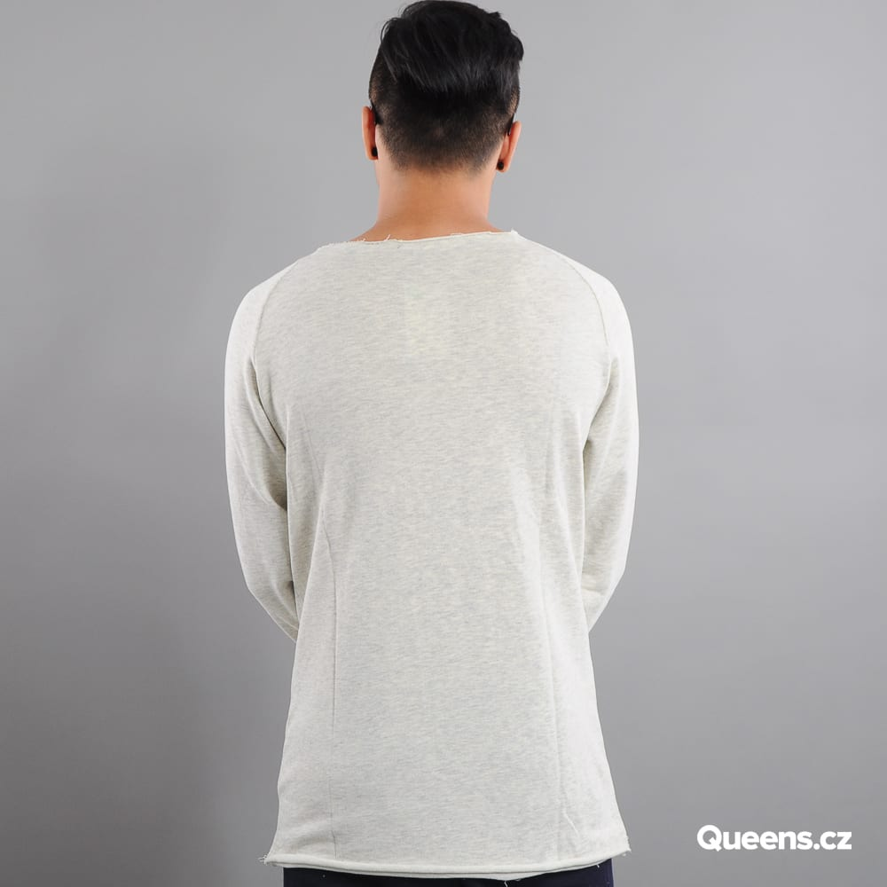 Urban Classics Long Open Edge Terry Crewneck cremig melange