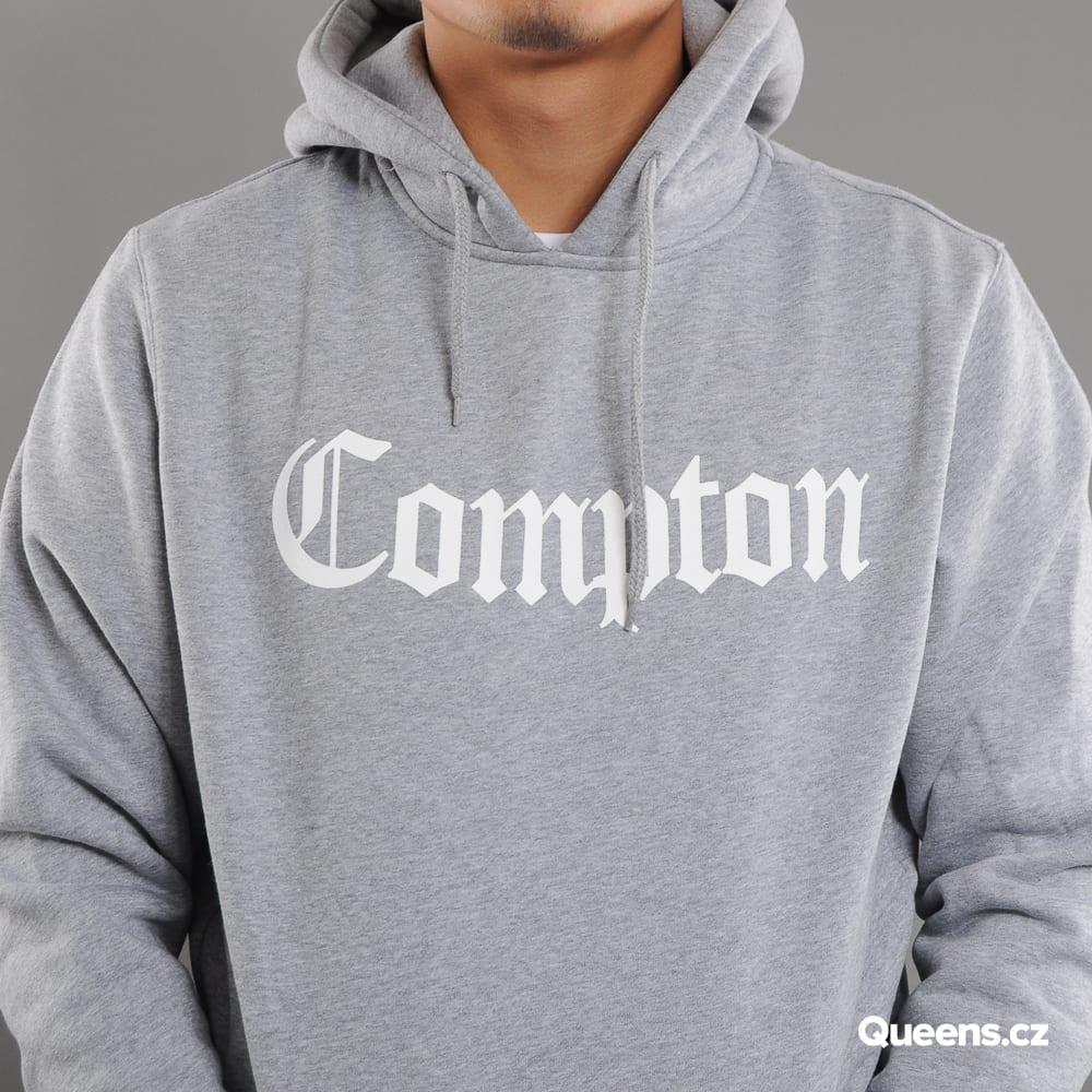 Urban Classics Compton Hoody melange gray / white