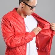 Urban Classics Diamond Quilt Leather Imitation Jacket červená