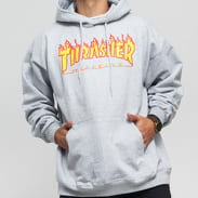 Thrasher Flame Logo Hoody grey melange