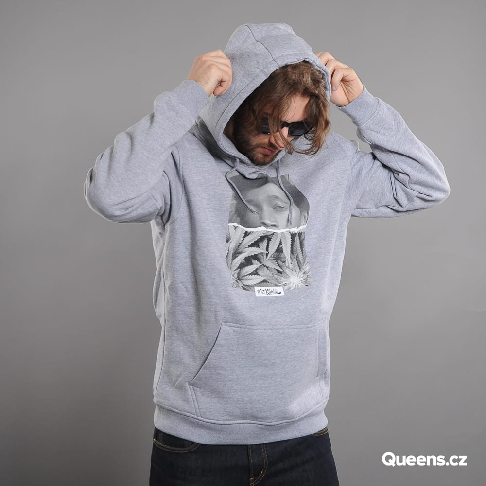 Urban Classics Wiz Khalifa Face Hoody melange šedá
